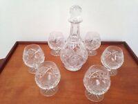 Cut Glass Decanter & 6 Brandy Glasses Set