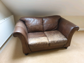 Laura Ashley Brown Leather Sofa 2 seater