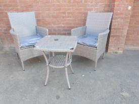 Grey rattan garden furniture set