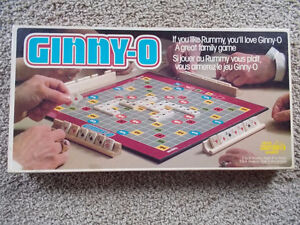 """VINTAGE 1981 """"GINNY- O"""" BOARD GAME RUMMY WITH WOOD TILES RACKS"""