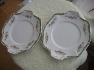 Pr. MATCHING OLD VINTAGE CHINA SERVING PLATES with HANDLES