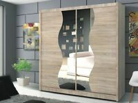 Brand New Tokyo Sliding Door German Wardrobe in Oak / Wenge (Dark Brown)