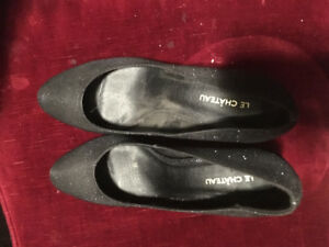 Size 8 Women's black sparkle high heel shoes