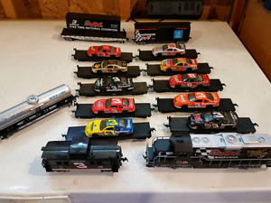 Ho Train set  Dale Earnhardt. 10 flat car with 10 racing car.