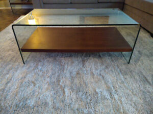 STRUCTUBE GLASS COFFEE TABLE - with  WOOD SHELF
