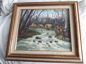 rare Fraser Thomson oil painting  brother of tom (group of seven