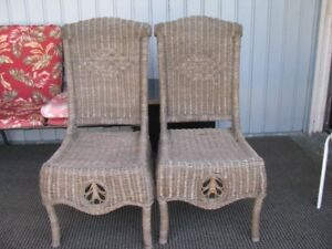 2 BROWN WICKER CHAIRS  MATCHING $50.00