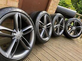 """Genuine Audi TTS TT 19"""" S Line Alloy Wheels & Tyres A4 A6 A8 VW Grey"""