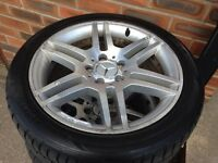 Mercedes amg alloy wheels - 4 good legal tyres - ready to bolt on