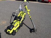 Ryobi 18 volt cordless mower and strimmer
