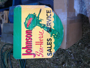 Beautiful vintage style Johnson Seahorse outboard flange sign