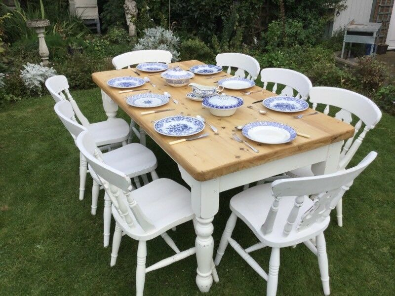 Fabulous shabby chic solid chunky farmhouse pine table and eight chairs