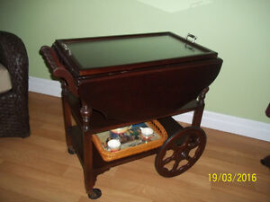 Solid Walnut Antique Tea Wagon with Serving Tray