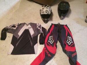 Motorcross helmets and outfit for kid
