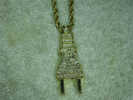 American Plug Pendant on spiral chain with CZ stones