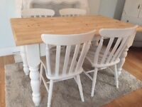 Lovely Shabby Chic Chunky Farmhouse Pine Table and 4 Lovely Chairs