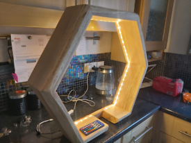 Floor light hand made from solid ash