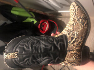 Python snake boots. Would trade for a ice fishing flasher
