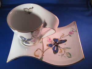 Adeline Porcellana Fine Teacup, Spoon and Tray
