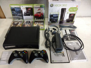 XBOX 360 Elite Console 2 Controllers & 6 Games
