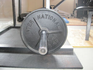 Olympic bar and weights - 440 lbs