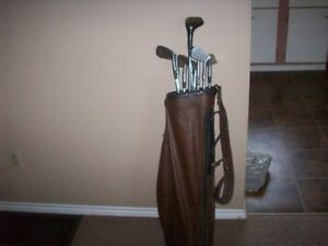 Set of 9 misc golf clubs and bag