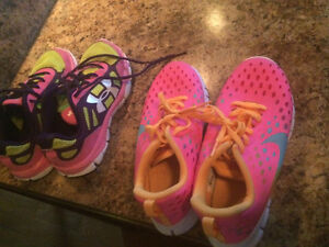 Youth size 3 under armour and Nike sneakers