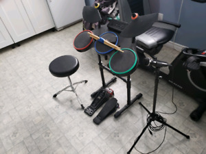 PS Guitar hero drums and mic works with rock band too
