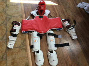 Taekwondo protection gear, size medium, in excellent condition