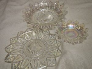 Three Indiana Iredescent Plates from 50's