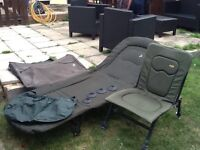 Carp fishing bedchair and chair