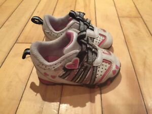 Baby girl size 3 white and pink shoes