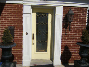 Front entrance steel door with stained glass lite  32x80