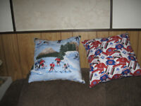 Pillows in Montreal Canadian Colors