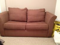 Virtually new chocolate brown sofa bed