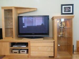 Meuble télé et biblios combinés (en chêne véritable)
