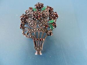 Beautiful Emerald & Garnet Floral Bouquet Marquesite Design 925