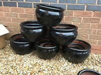 Garden pots planters... six sets = 18 pots Black ceramic
