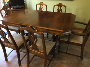 7 piece solid walnut antique dining set