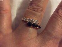 B&W Swarovski crystal gold filled ring. Size 6/N