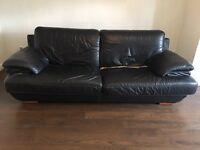 Black Italian leather couch
