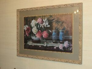 Framed Glass Covered Floral Painting Large