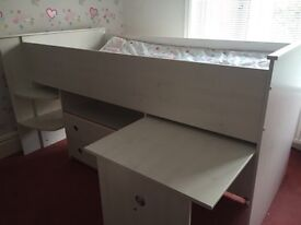 Single white wood cabin bed with mattress