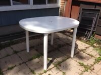White plastic patio table for sale