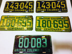 1956 British Columbia License Plates Collectible $100