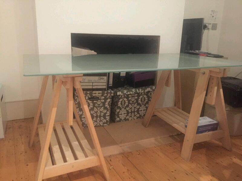 Ikea glasholm finnvard glass top trestle desk in good