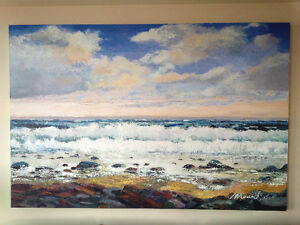 canvas painting of waterscape