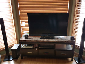 """49"""" sony tv, with tv stand and home theatre"""