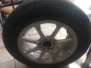 (4) 17 inch universal rims (decent rubber with lugs and key)