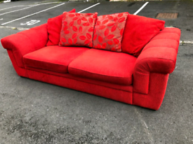 Red Fabric 3 Seater Sofa